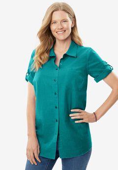 Short Sleeve Button Down Seersucker Shirt, WATERFALL