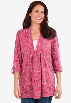Box-Stitched Split Neck Tunic, ROSE PINK WILD FLOWER