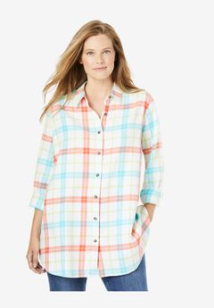 Classic Flannel Shirt, WHITE MULTI PLAID