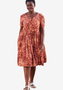 Short, button-front crinkle dress,