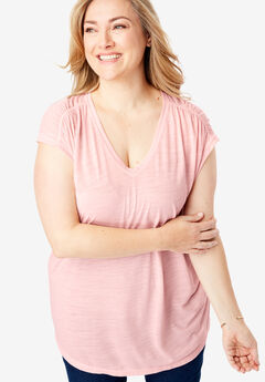 Ruched Sleeve V-Neck Tunic by FullBeauty SPORT®,