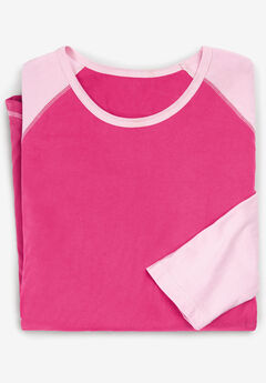 Baseball Sleep Tee by Dreams & Co., RASPBERRY SORBET