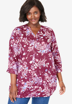 Three-Quarter Sleeve Tab-Front Tunic, DEEP CRANBERRY SPRINKLE FLORAL