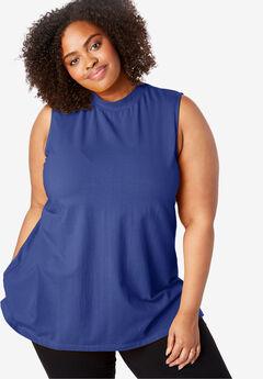 EveryWear Essential Sleeveless Mock Neck Tee, ULTRA BLUE