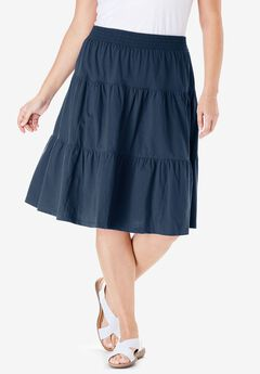 Jersey Knit Tiered Skirt, NAVY