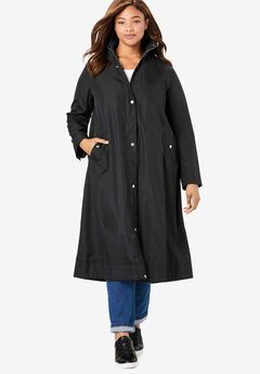 Water repellent long raincoat, BLACK, hi-res
