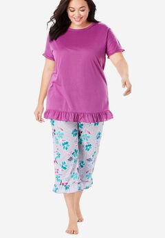 Cool Dreams Ruffled Capri Pajama Set, MULTI FLORAL