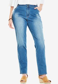Straight Leg Stretch Jean, LIGHT STONEWASH SANDED, hi-res