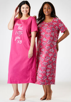 2-Pack Long Sleepshirts by Dreams & Co.®, POMEGRANATE FLORAL, hi-res