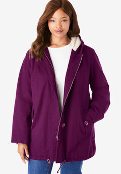 Sherpa-Lined Hooded Parka, DARK BERRY
