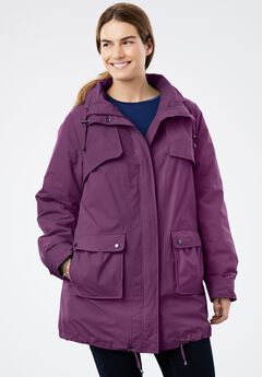 Quick drying Taslon® parka fleece-lined jacket, PLUM PURPLE
