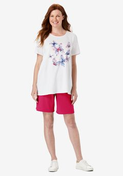 2-Piece Knit Tee and Short Set, WHITE BUTTERFLIES