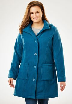 Jacket in the coziest fleece with A-line shape , BLUE TEAL, hi-res