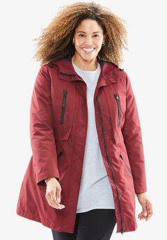 All-Weather Hooded Jacket, RICH BURGUNDY, hi-res