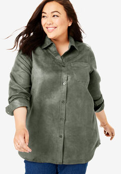 Soft Sueded Button Down Shirt, VINTAGE MOSS