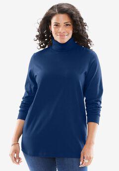 Perfect Cotton Turtleneck, EVENING BLUE, hi-res