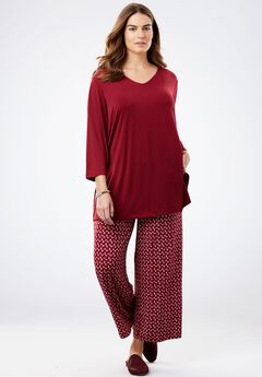 Patterned Pant Set with Solid Tunic, RICH BURGUNDY FLOATING CHECK, hi-res