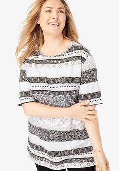 c2f74fde28d Perfect Printed Boatneck Tunic