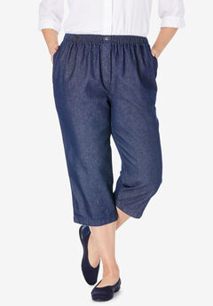 Mock Fly Cotton Capri Jean, INDIGO