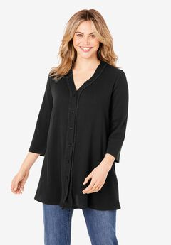 Button-Front Thermal Tunic, BLACK