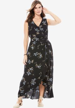 Ruffle Maxi Dress by Chelsea Studio®, BLACK WHISPER FLORAL, hi-res
