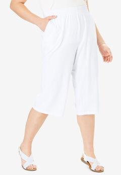Jersey Knit Capri Pant, WHITE