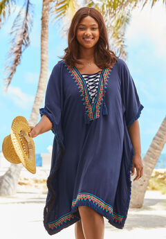 Lace-Up Caftan Cover Up ,