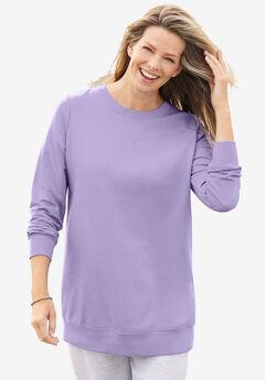 Fleece Sweatshirt, SOFT IRIS