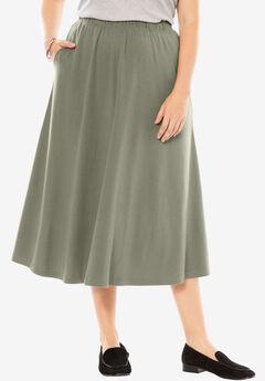 7-Day knit A-line skirt, OLIVE GREY, hi-res