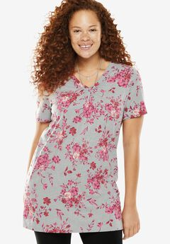 Perfect Printed Shirred V-Neck Tunic, HEATHER GREY BOUQUET, hi-res