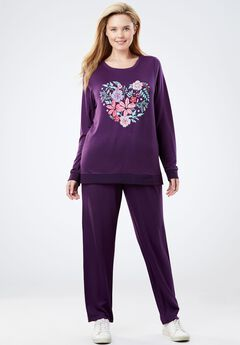 Printed French Terry Sweatsuit, MIDNIGHT PLUM FLORAL HEART