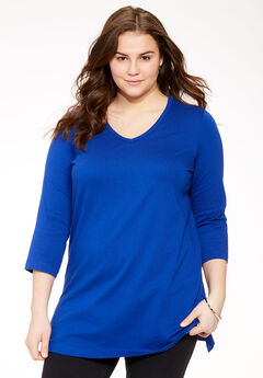 V-Neck Three-Quarter Sleeve Perfect Tunic, DARK SAPPHIRE
