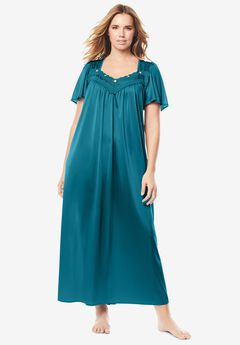 Long Silky Lace-Trim Gown , DEEP TEAL