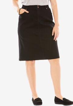 Tummy Tamer Skirt, BLACK DENIM, hi-res