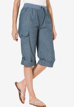 Convertible-Length Cotton Cargo Capri Pants, CHAMBRAY, hi-res
