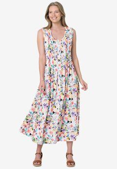 Pintucked Floral Sleeveless Dress, WHITE POPPY BLOSSOM