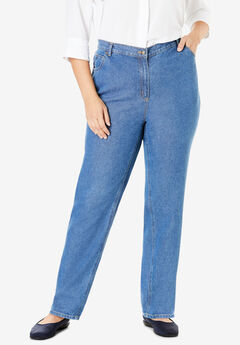 Back-Elastic Straight Leg Cotton Jean, MEDIUM STONEWASH