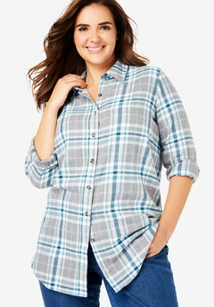 Classic Flannel Shirt, DEEP TEAL PLAID