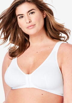 Cotton Knit Leisure Bra by Leading Lady®, WHITE, hi-res