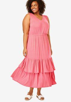 Tiered Hem Sleeveless Dress,