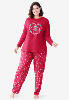 Long Sleeve Knit PJ Set by Dreams & Co.®, CLASSIC RED KISSMAS