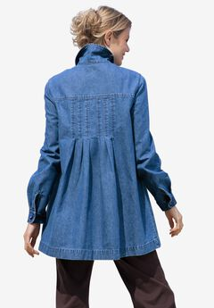Pleat-Back Denim Jacket,