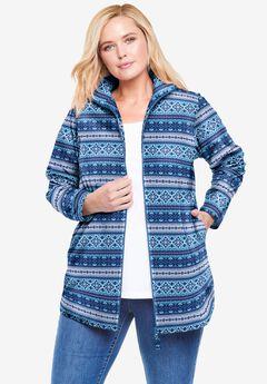 Zip-Front Microfleece Jacket, BLUE PRETTY FAIR ISLE
