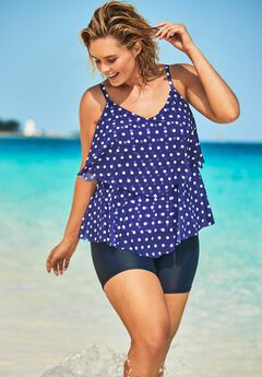 Mesh Double-Tier Tankini Top,