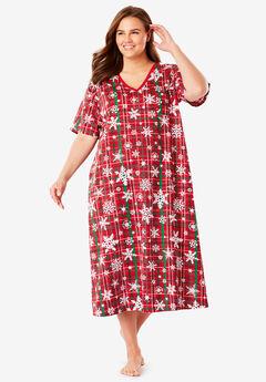 Long Print Sleepshirt by Dreams & Co®, CLASSIC RED PLAID