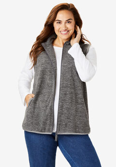 Zip-Front Microfleece Vest, GREY MARLED
