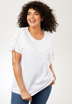 Lace-Up Shoulder Tee,
