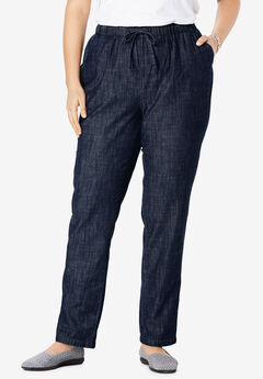 Drawstring Chambray Straight Leg Pant,