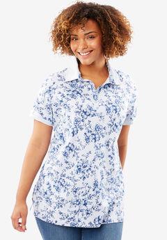 Perfect Printed Polo T-shirt, BLUEBERRY CREAM CHERRY BLOSSOM