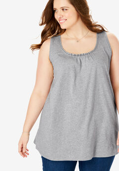 U-neck Perfect tank tunic, HEATHER GREY, hi-res